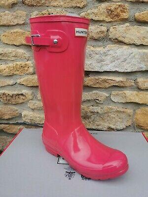 Hunter Original Kids Bright Pink Gloss Wellington Boots - Size 4 -...