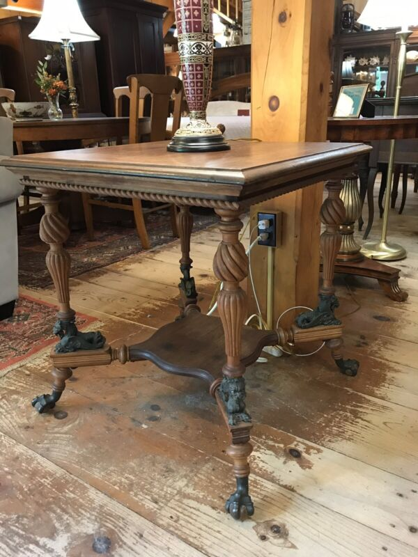 Antique Merklen Brothers Parlor Table w/ Lion & Ball, Claw Feet