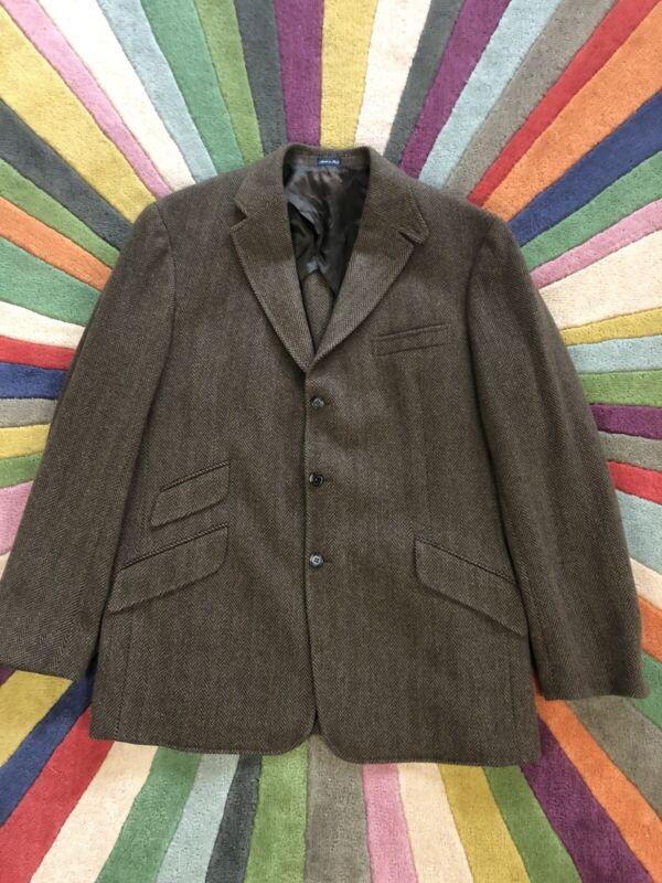 VTG Ralph Lauren Polo Herringbone Jacket Made In Italy Suit Coat Blazer 46