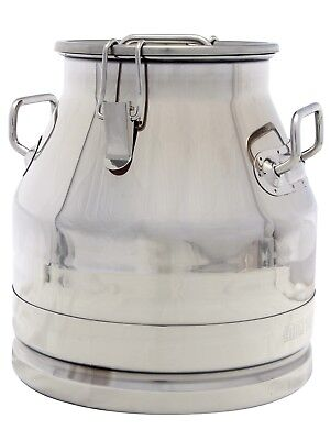 5 Gal. Milk Can Tote Stainless Steel 20 Qt. Heavy Duty Sides Strong Sealed Lid