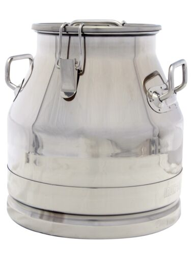 5 Gal. Milk Can Tote, Stainless Steel 20 Qt. Heavy Duty, Strong Sealed Lid (New)
