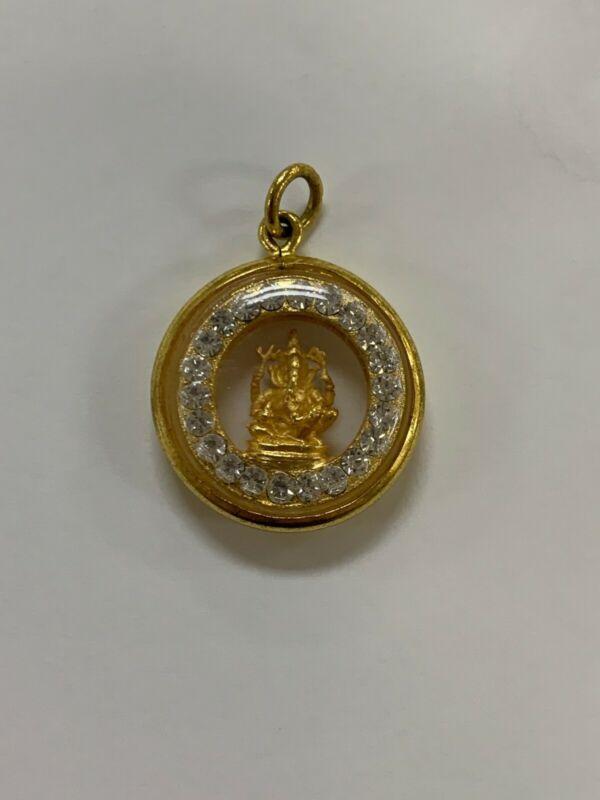 THAI AMULET LORD SHIVA GOLD, DIAMONDS, SMALL, BRAND NEW