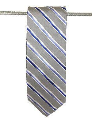 CHAPS Silk Tie Blue Gray Diagonal Stripe 58.5 x 3.25  ()