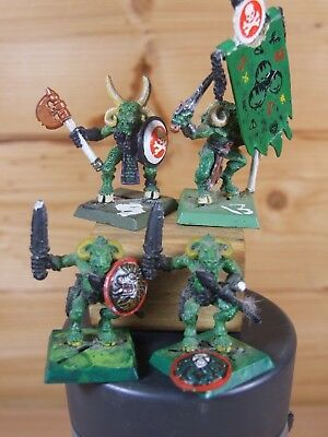 4 CLASSIC METAL WARHAMMER CHAOS BEASTMEN PAINTED 1034
