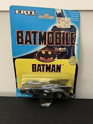VINTAGE ORIGINAL BATMAN Batmobile Die-Cast Metal SEALED CARD ERTL 1989