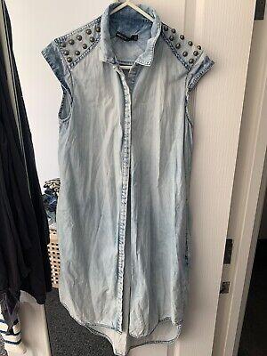 Karen Millen Denim Shirt Dress With Studs Size Uk10/12