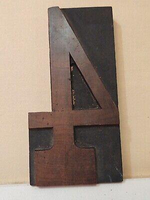 Vintage Letterpress Wood Type Printers Block Number 4 - 6 Tall