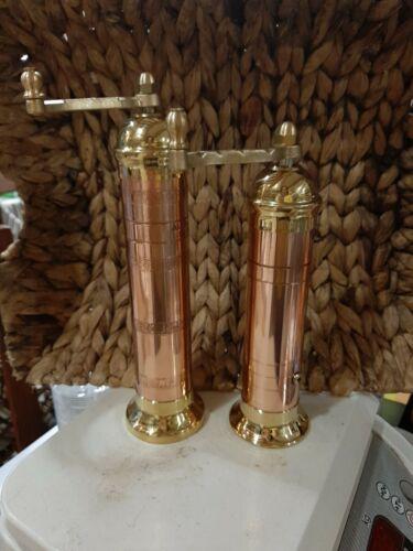 Copper-brass pepper mill 9″#414Copper brass salt#418  8″ Alexander (ATLAS)set2
