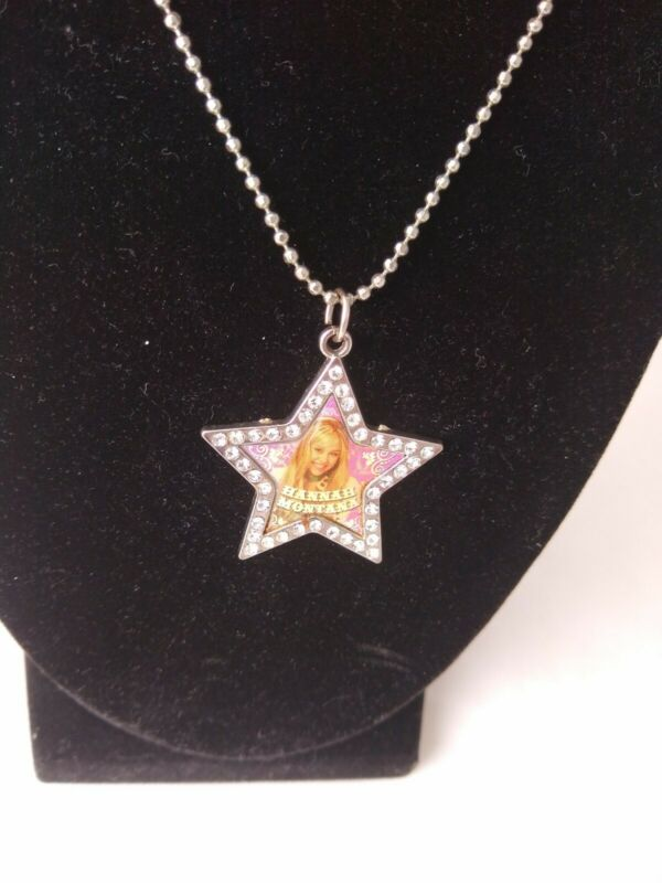"Hannah Montana Star Shaped Necklace pink w/ Rhinestones 16"" chain Disney"