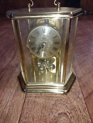 Bulova Anniversary Mantel Clock Carriage Style Working Vintage
