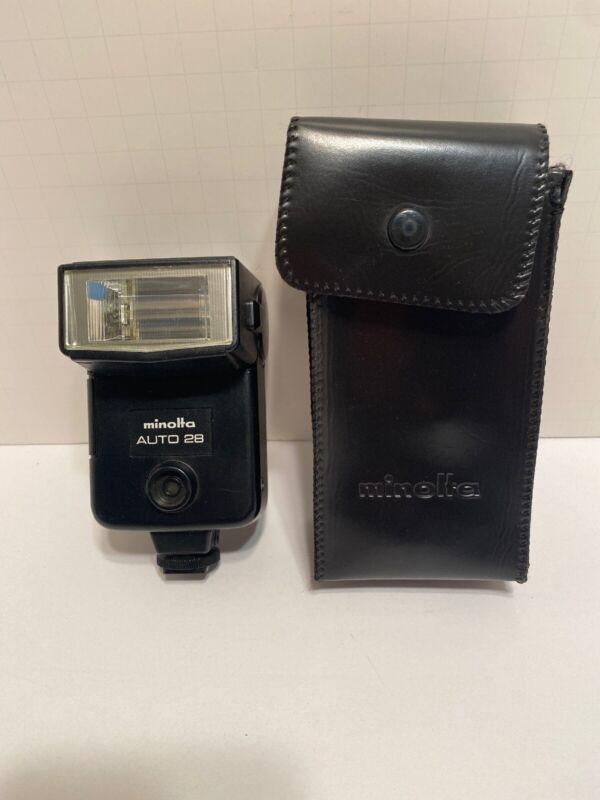 Minolta Auto 28 Shoe Mount Flash for SRT 101 X-370 X570 X-700 cameras Case Japan