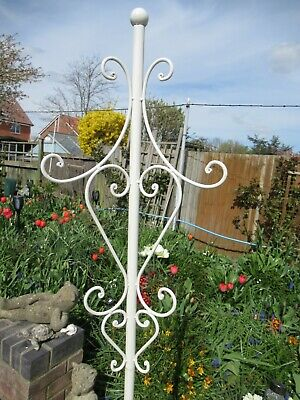 Vintage Tall White Finished Metal Coat Stand