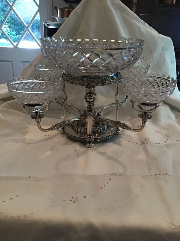Antique Sheffield Silver Plate Epergne Excellent