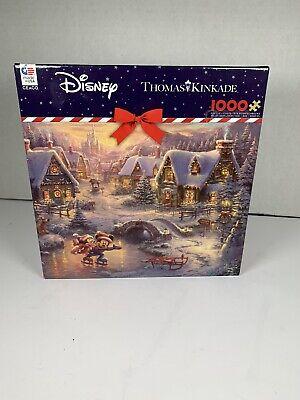 NEW Disney Thomas Kinkade Mickey and Minnie Sweetheart Holiday 1000 PC Puzzle