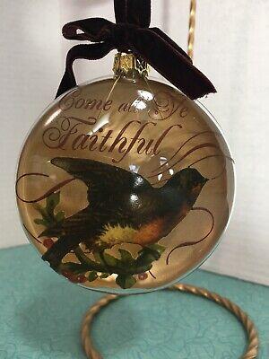 Demdaco GLASS ORNAMENT COME ALL YE FAITHFUL BIRD ON HOLLY - Faith Glass Ornament