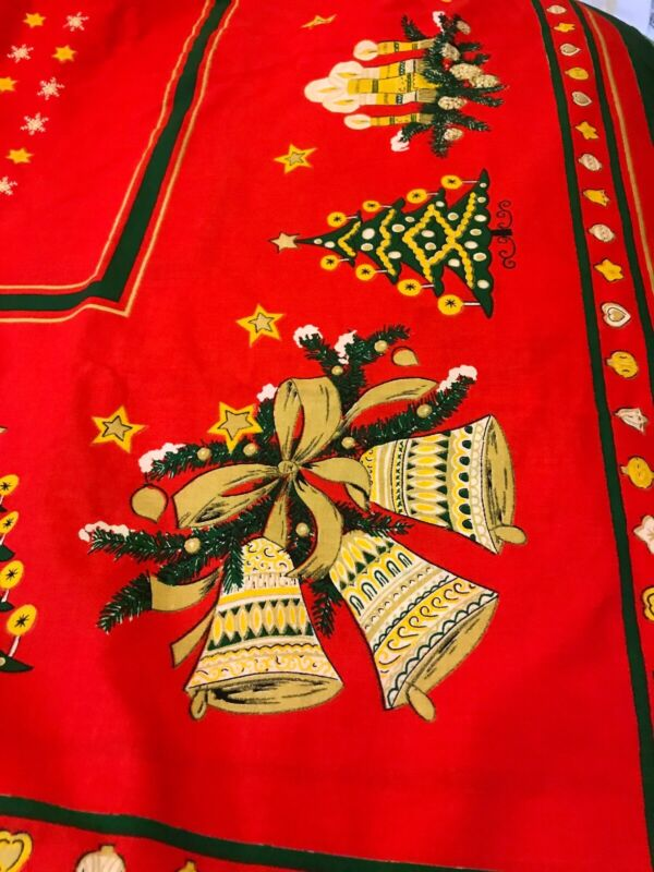 Vintage Christmas Holiday Table Cloth Bells Tree Angels Festive Good Condition