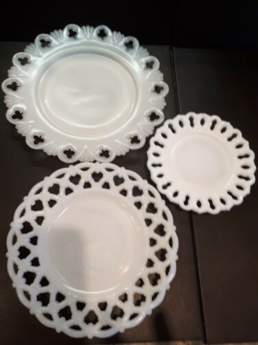 3 Vintage White Milk Glass Plates includes forget me not in great condition