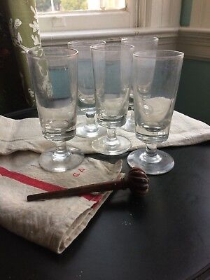 Set of 5 Antique French Absinthe glasses Bistro barware handblown heavy glass