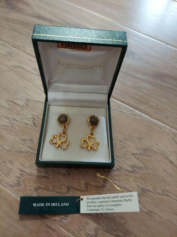 Irish Shamrock Earrings. Made of Connemara Marble Quarry from Ireland.