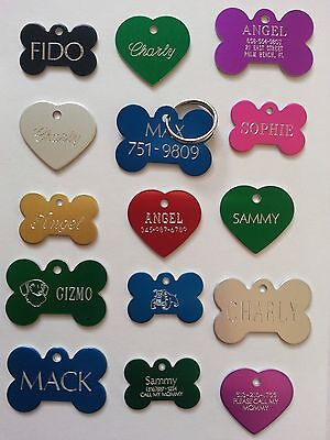 CUSTOM ENGRAVED PERSONALIZED PET TAG ID DOG CAT NAME TAGS SINGLE SIDE