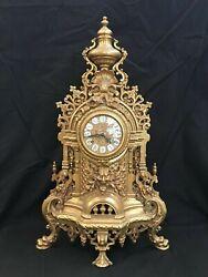 Vintage Italian Imperial Brass Mantel Clock Franz Hermle  ***BEAUTIFUL***