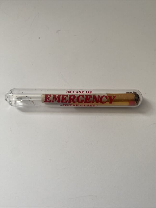 Vintage In Case of Emergency Break Glass Winston Cigarette and Match Gag Gift