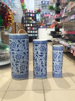 Chinese blue and white floral patterned porcelain vases Manly Manly Area Preview