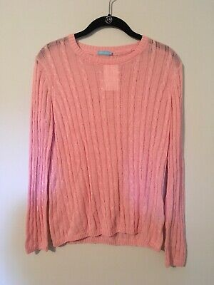 J. McLaughlin Pink Cable Knit Pullover Sweater, Size Medium