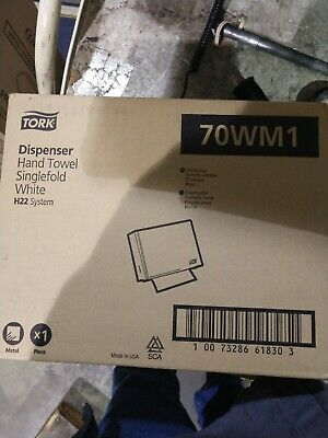 Tork Hand Towel Dispenser White Metal Paper Holder Singlefold 70wm1 H22 Nos