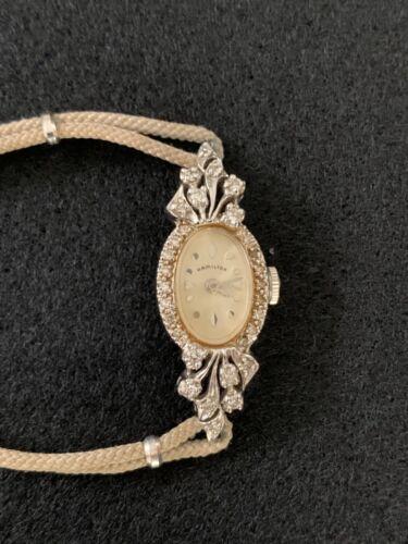 Vintage Ladies HAMILTON 14K White Gold & Diamond Watch