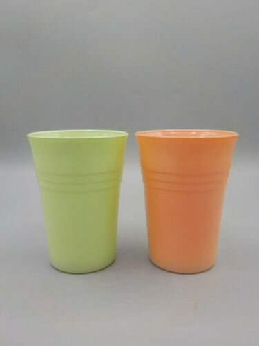 2 Vtg Hazel Atlas Tumblers Drink Pastel Milk Glass Platonite Moderntone Pink Grn