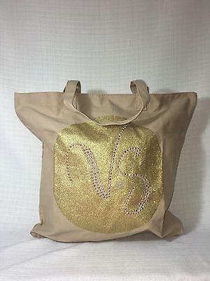 NWT VICTORIA'S SECRET TAN AND GOLD CANVAS TOTE BAG