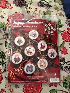 Janlynn Christmas Cross Stitch Patchwork Ornaments Kit #06-23 Set of 8 NO THREAD
