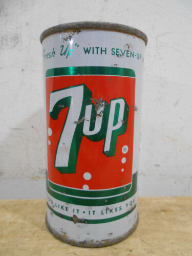 EARLY 7 UP STEEL PUNCH  FLAT TOP 12OZ SODA CAN ST LOUIS MISSOURI