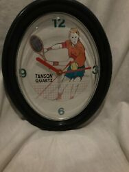"Tanson Quartz Tennis Theme Oval Quartz Wall Clock Works Great 11"" X 9"""
