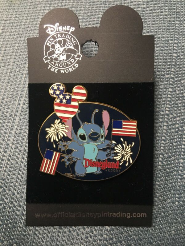 Disney 30999 DLR Stitch with Flags and Fireworks Pin