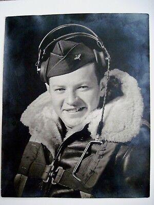 Usado, Vintage Fotografía de WWII Piloto con / Auriculares y Cuero Chaqueta Vuelo segunda mano  Embacar hacia Spain