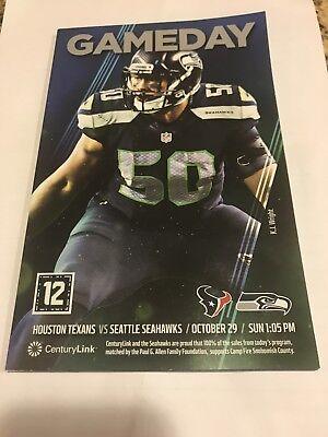 Seattle Seahawks Gameday Program Oct 29, 2017 Houston Texans KJ Wright