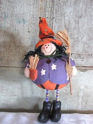 Sweet Grubby Primitive Halloween Bad Hair Day Paper Mache Witch Figure Doll - Halloween Doll Hair