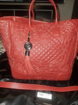 VERSACE Red Quilted Leather Vanitas Large Tote- Certified Authentic EUC