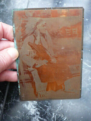 Early printing plate Native American Red Indian Headdress Chief Tribe photograph