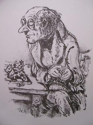 """A.PAUL WEBER - Original Lithographie 1976 """" Schachspieler II"""" TOP!!"""