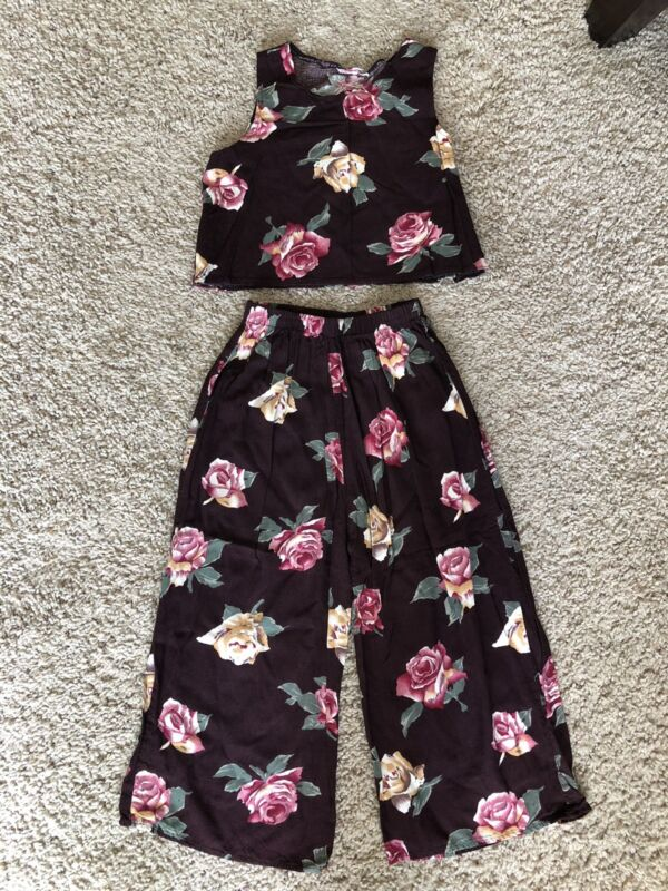 Vtg 90's Two Piece Roooy Kazoody Burgundy Pink Floral Girls Size 6 Wide Leg Pant