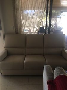 Cream 3 seater leather lounge Melville Melville Area Preview