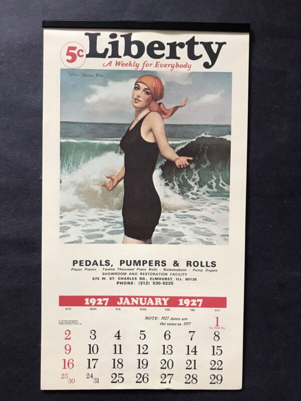 NEW Old Antique 1927 Liberty Wall Calendar 12 Figural Page~Magazine Advertising