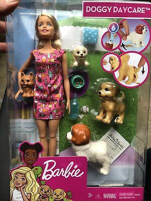 Barbie Doggy Daycare Doll, Blonde Hair with 2 Dogs & 2 Puppies DAMAGED BOX