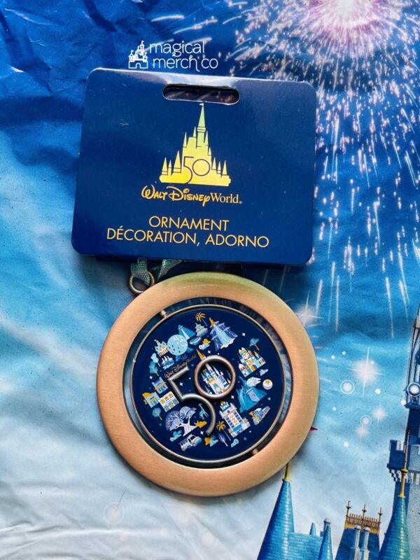 2021 Disney World 50th Anniversary 4 Parks Mickey Spinner Christmas Ornament