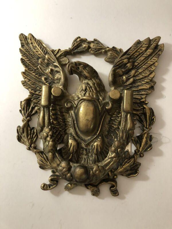 "Antique Heavy Solid Brass Door Knocker American Eagle & Shield 9"" Federal Style"