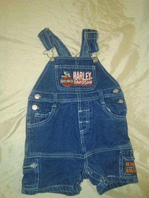 Vintage Harley Davidson Baby Overalls Bib Shorts 18 Months