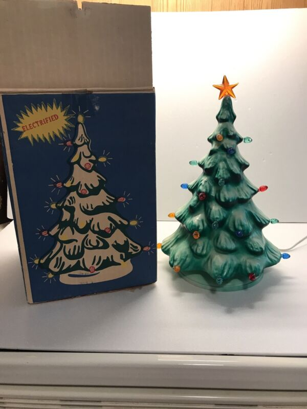 Vintage Hard Plastic Peg Light Table Top Christmas Tree Blow Mold